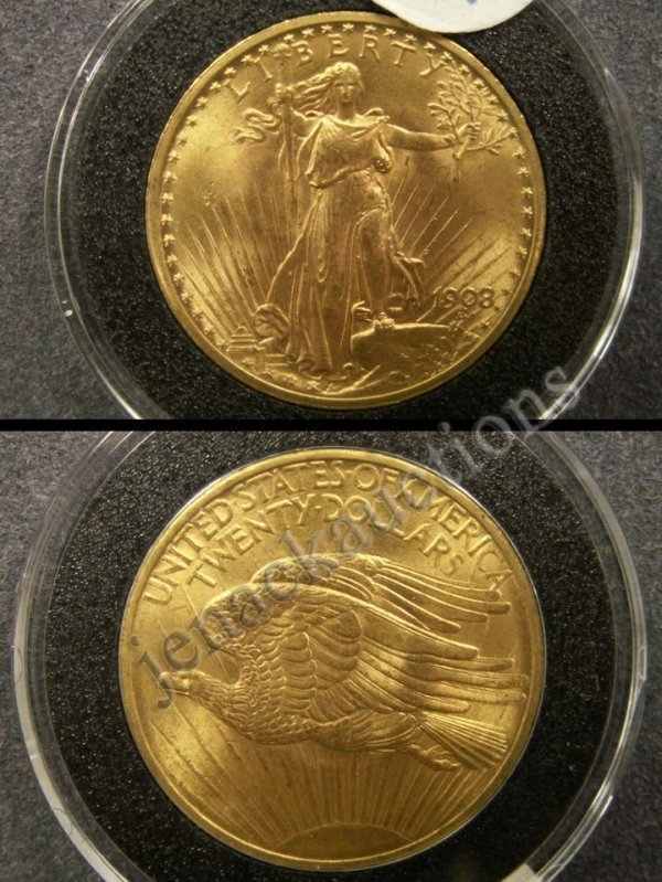 1016: 1908 ST. GAUDENS $20.00 GOLD COIN (MS-63)