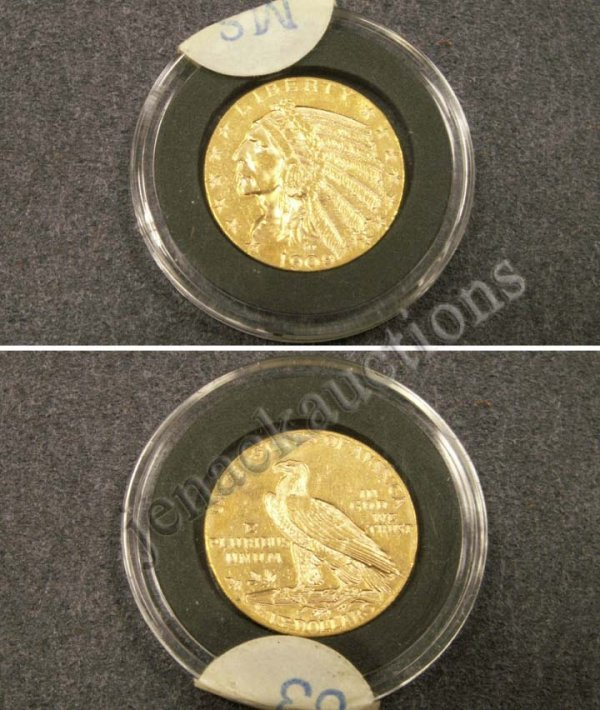 1020: 1909 INDIAN HEAD $5.00 GOLD COIN (MS-63)