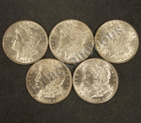 1021: LOT (5) 1888O MORGAN SILVER DOLLAR COINS (MS-63)