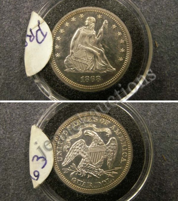 1024: 1868 LIBERTY SEATED QUARTER DOLLAR COIN (PROOF63)