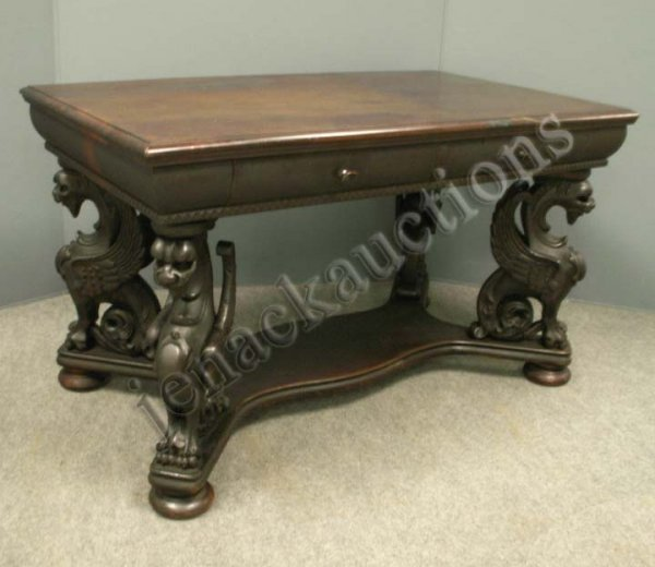 1222: VICTORIAN MAHOGANY GRIFFIN BASE FIGURAL TABLE