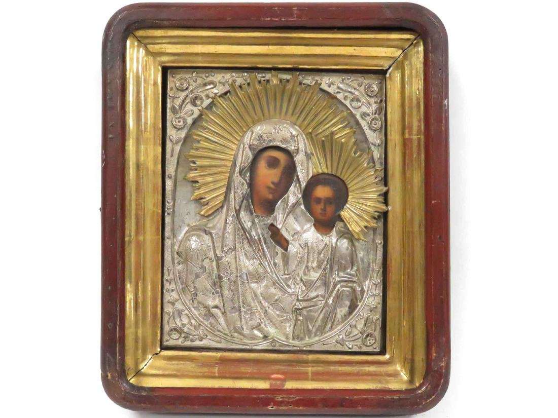 RUSSIAN ICON IVERSKAYA (MOTHER OF GOD) WITH GILT AND