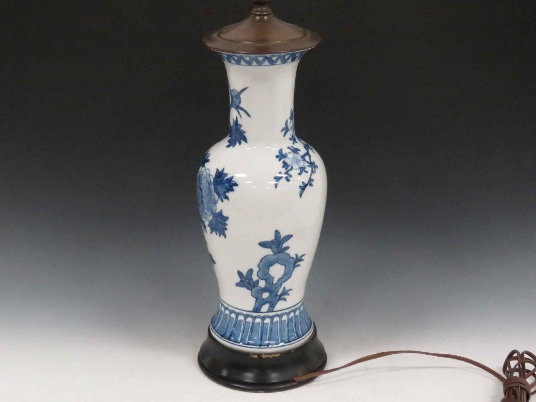 CHINESE DECORATED PORCELAIN VASE, MOUNTED AS A LAMP, - 2