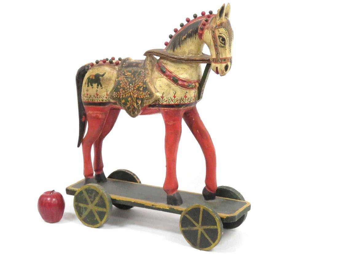 Vintage Indian Carved Painted Horse Pull Toy Height