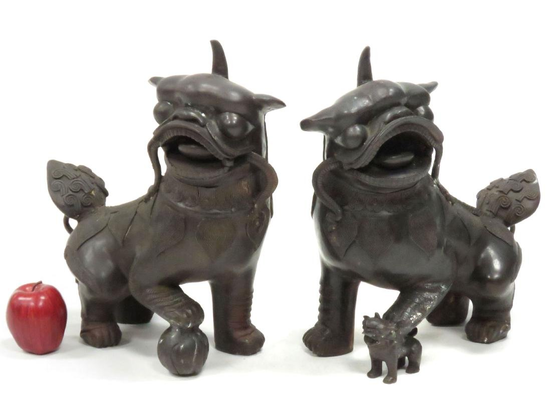 PAIR CHINESE BRONZE FOO DOGS, REPUBLIC. HEIGHT 17""