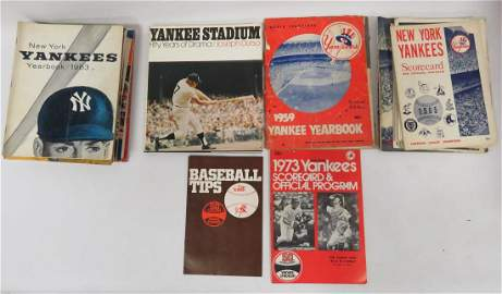 LARGE LOT YANKEE'S PROGRAM/SCORE CARD AND YEARBOOKS,