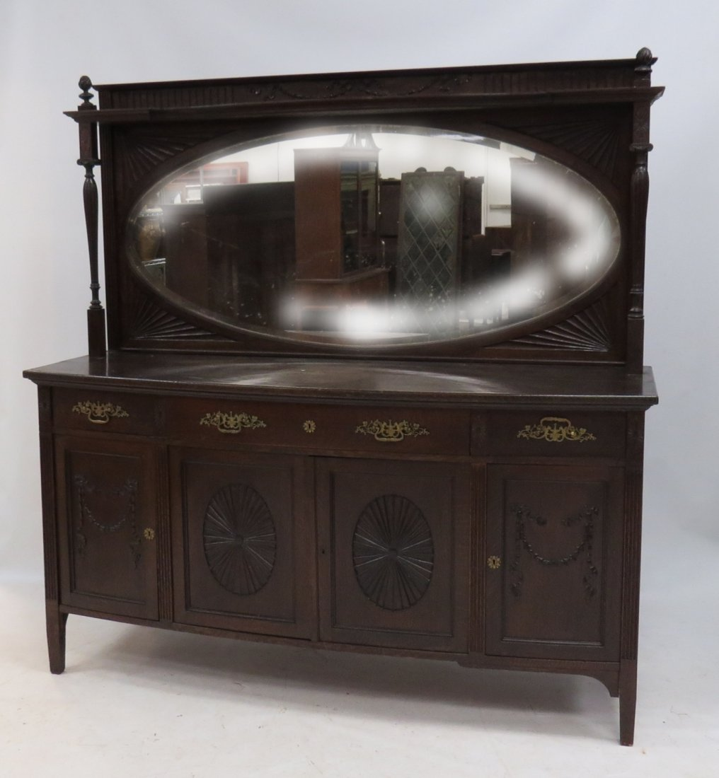 ADAM REVIVAL CARVED OAK SIDEBOARD WITH MIRROR BACK,