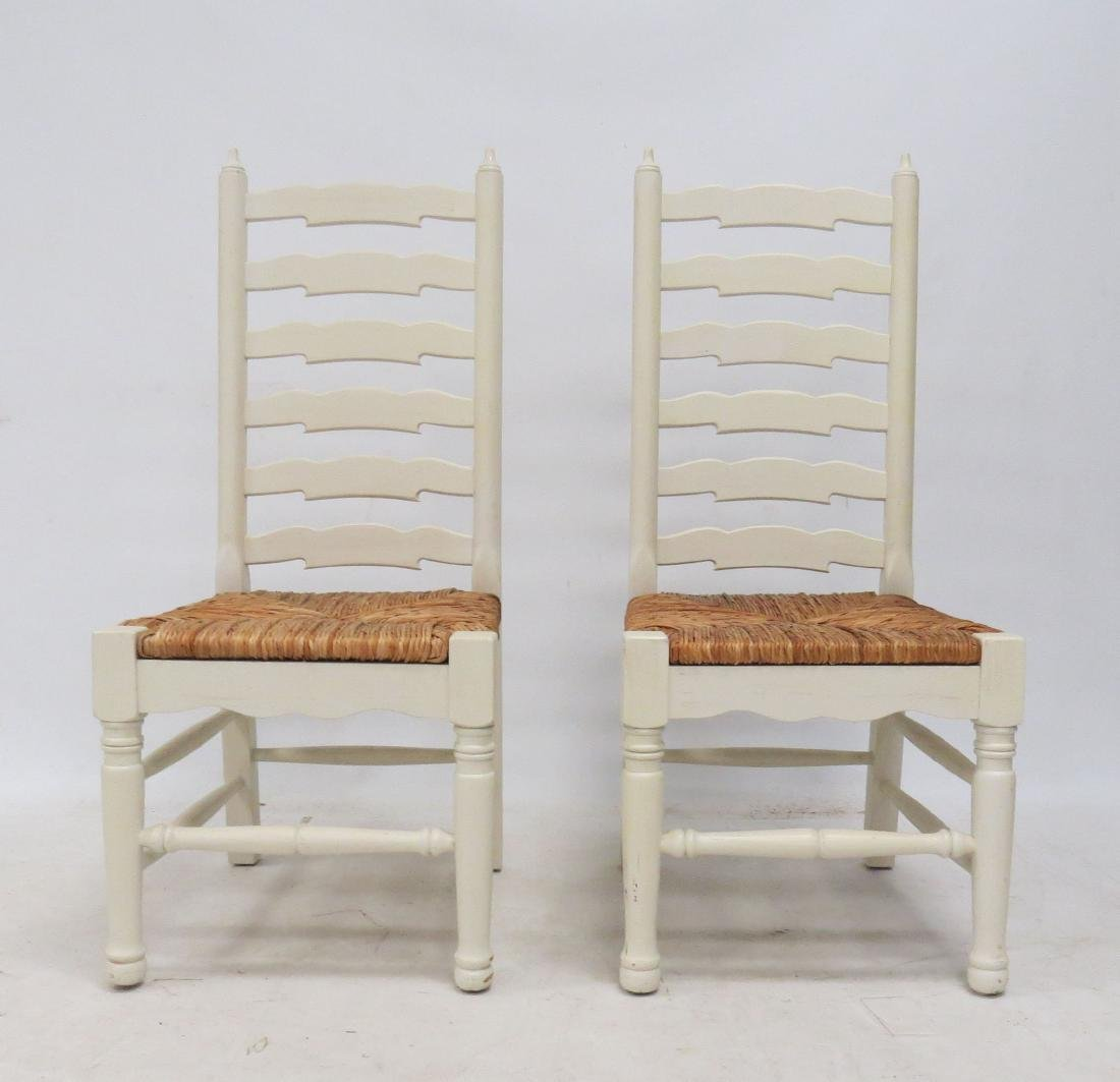 PAIR PAINTED LADDER-BACK, RUSH-SEAT SIDE CHAIRS