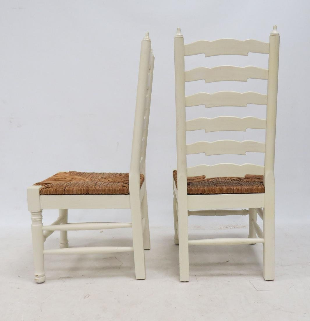 PAIR PAINTED LADDER-BACK, RUSH-SEAT SIDE CHAIRS - 2