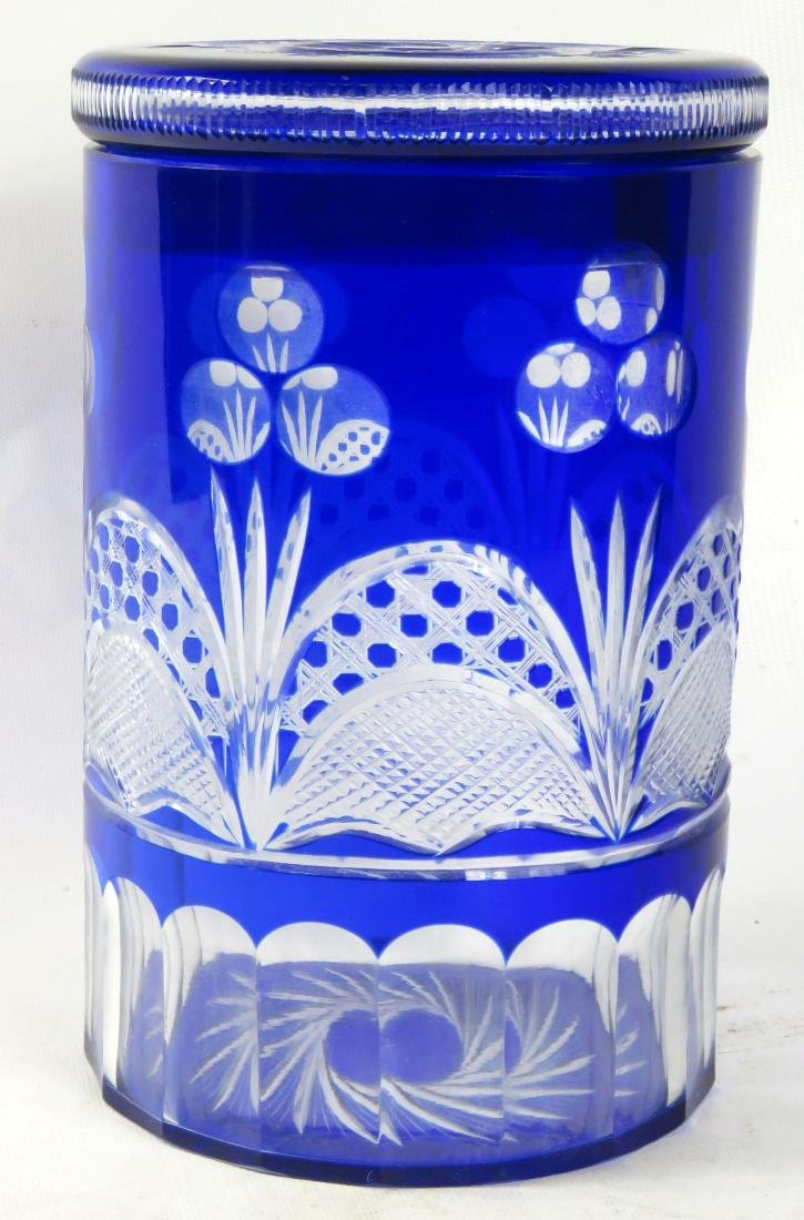 BOHEMIAN COBALT-CUT-TO-CLEAR COVERED GLASS VASE. HEIGHT