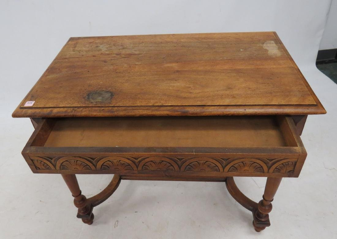 RENAISSANCE REVIVAL CARVED WALNUT SINGLE DRAWER TABLE. - 2