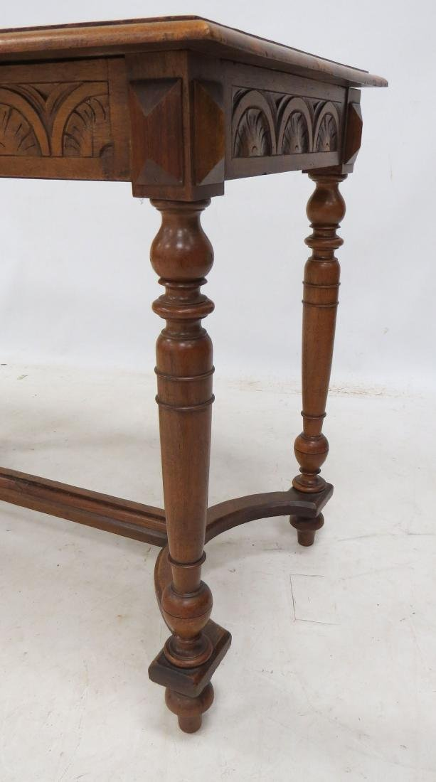 RENAISSANCE REVIVAL CARVED WALNUT SINGLE DRAWER TABLE. - 3