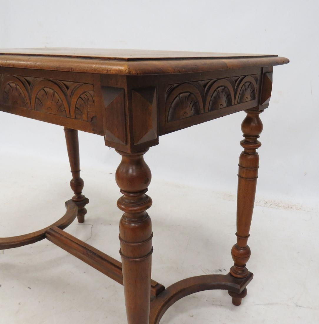 RENAISSANCE REVIVAL CARVED WALNUT SINGLE DRAWER TABLE. - 4