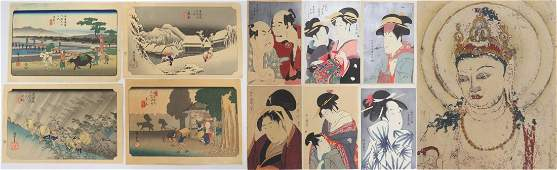 LOT 11 ASSORTED JAPANESE WOODBLOCK PRINTS INCLUDING