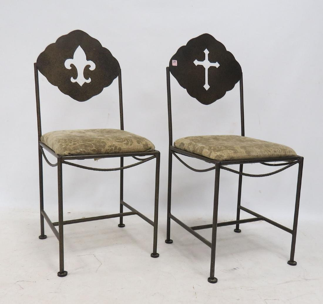 PAIR WROUGHT IRON SIDE CHAIRS
