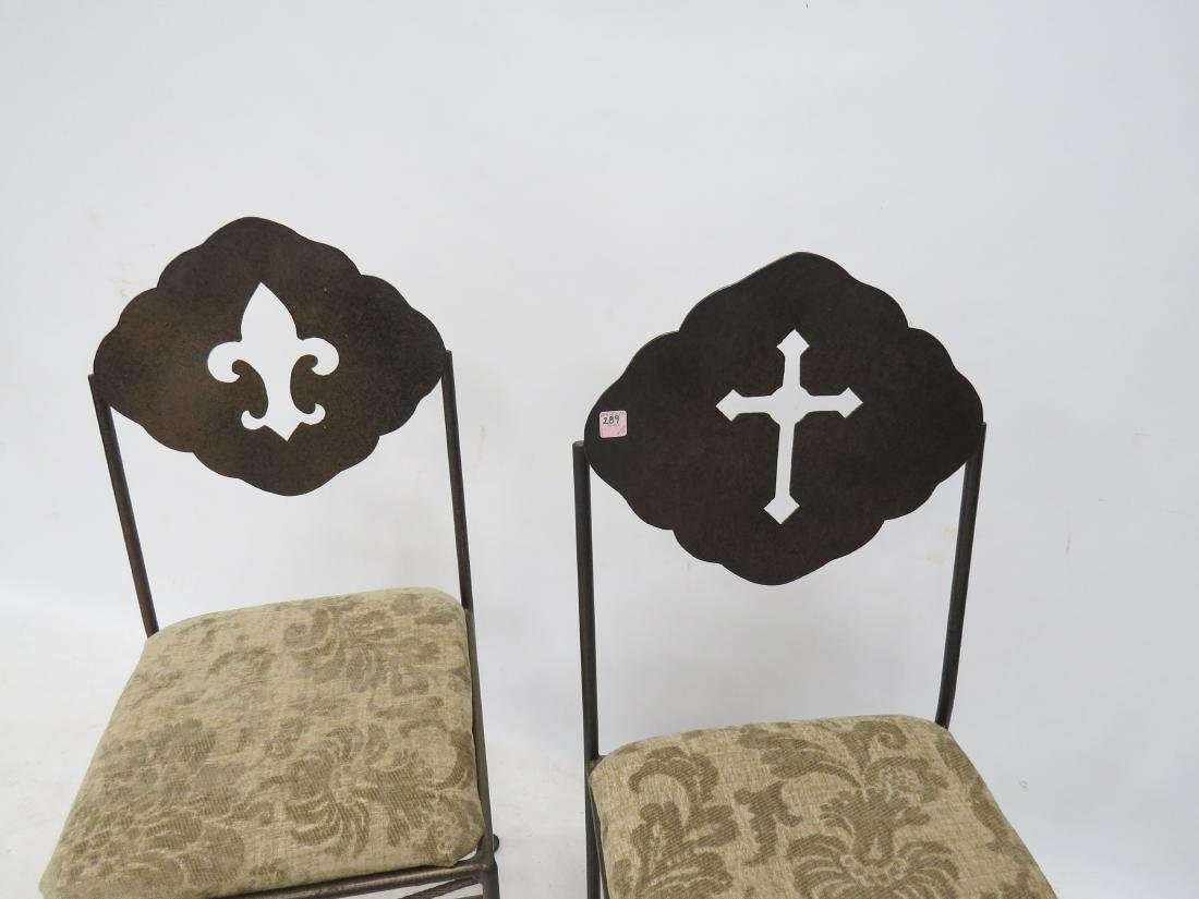 PAIR WROUGHT IRON SIDE CHAIRS - 2