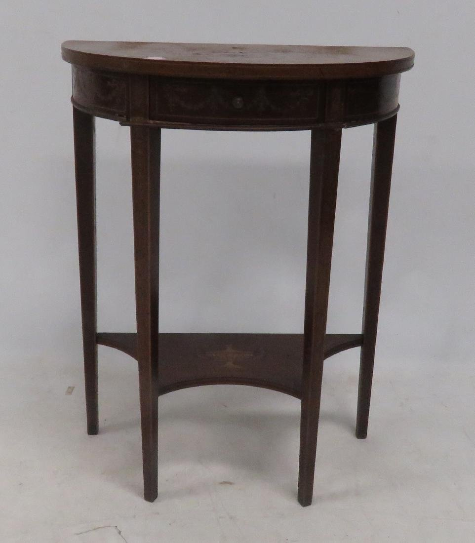 REGENCY STYLE MAHOGANY & INLAID DEMI-LUNE STAND, 20TH