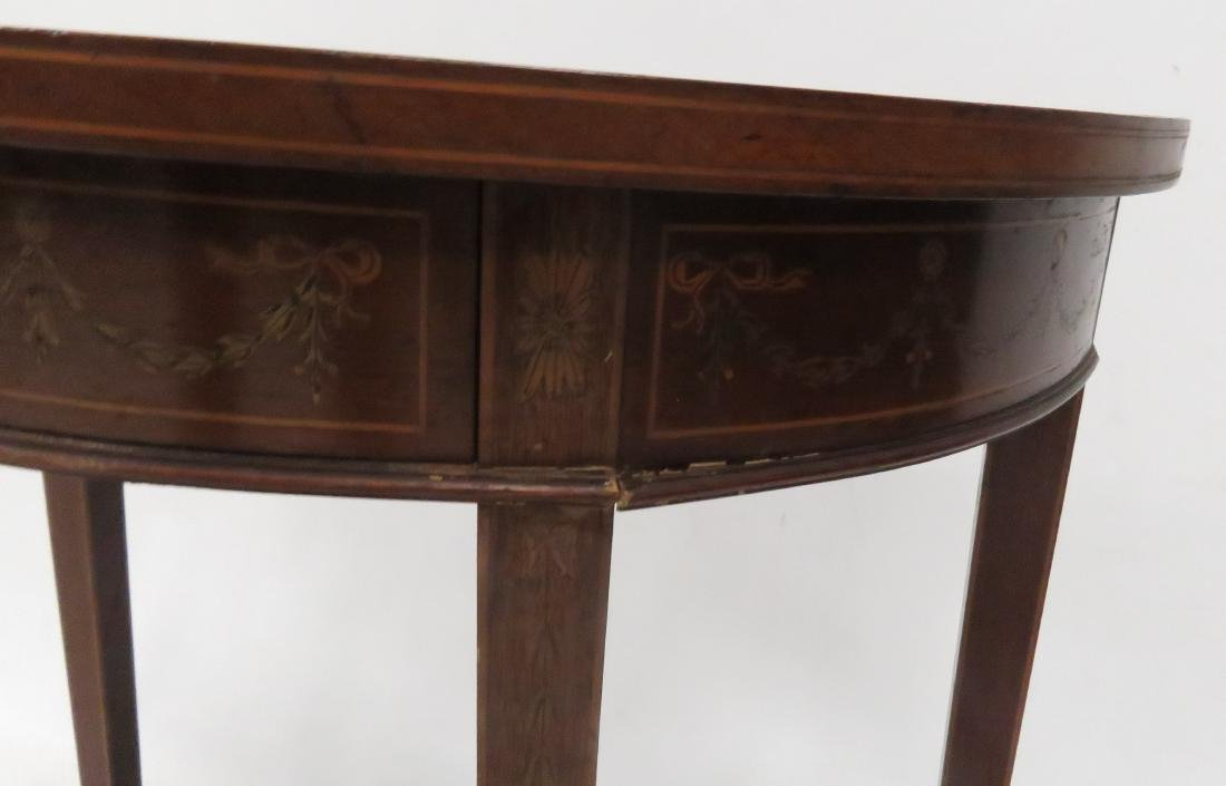 REGENCY STYLE MAHOGANY & INLAID DEMI-LUNE STAND, 20TH - 4