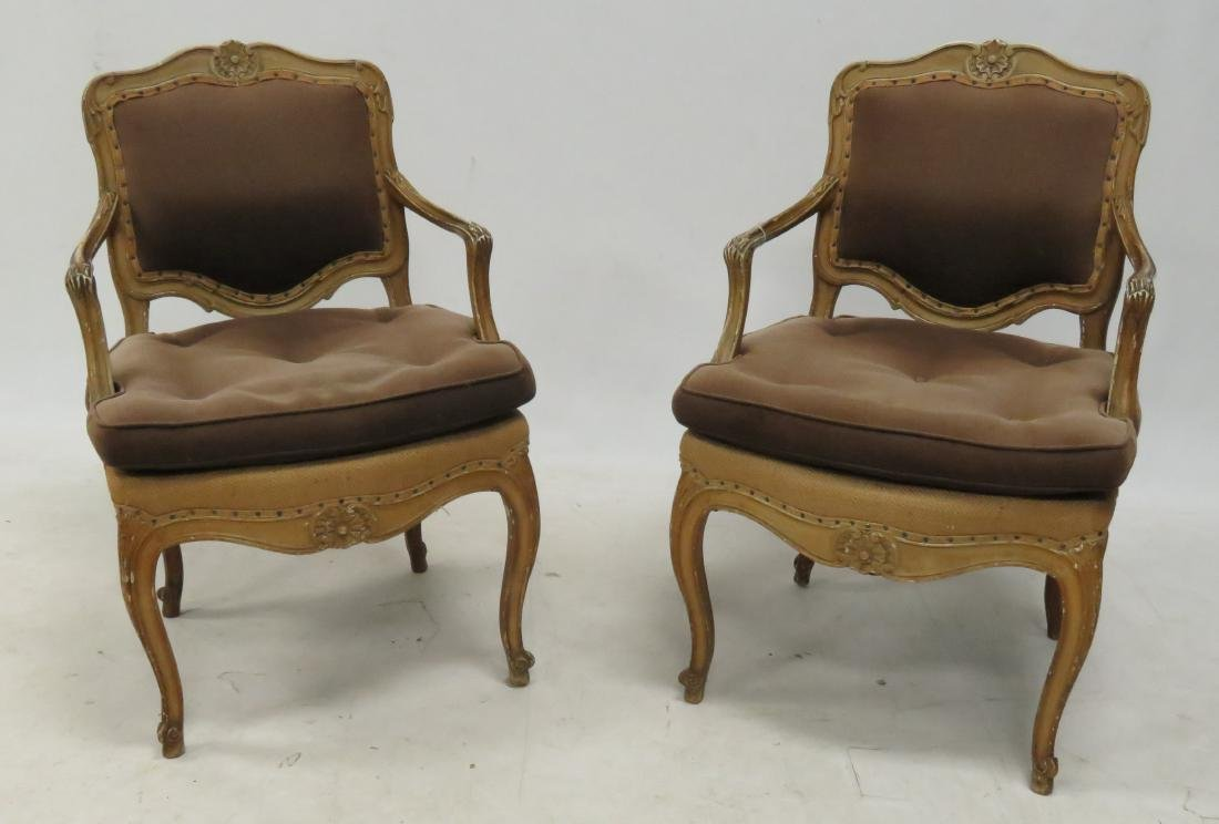 PAIR FRENCH CARVED ARMCHAIRS
