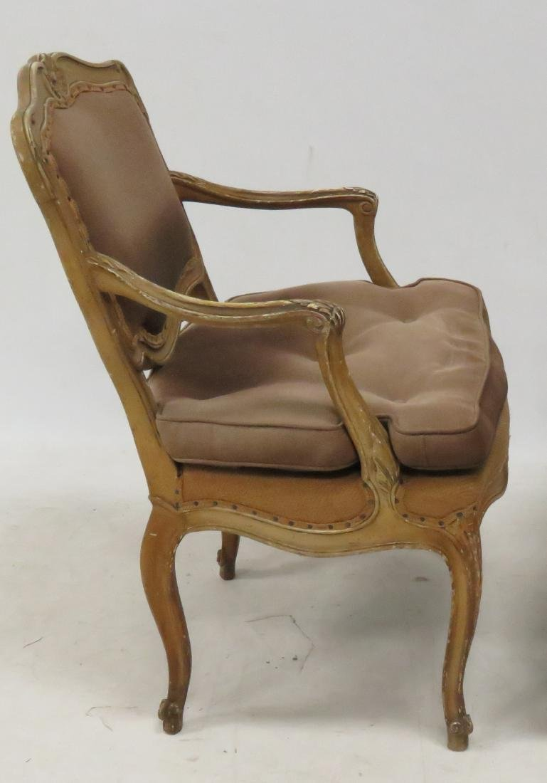 PAIR FRENCH CARVED ARMCHAIRS - 2