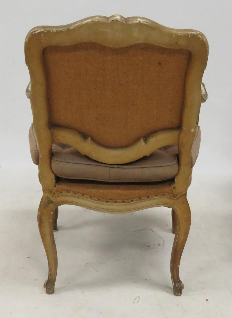 PAIR FRENCH CARVED ARMCHAIRS - 3