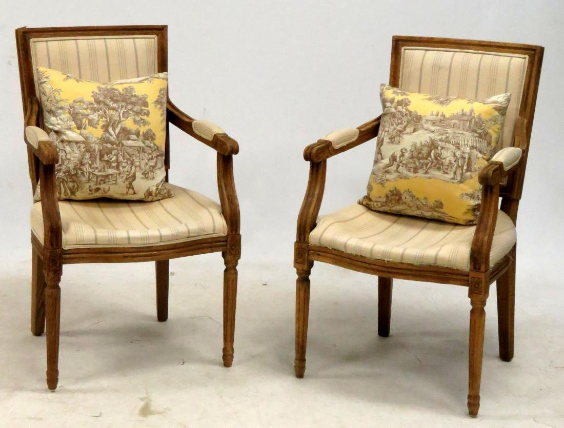 PAIR FRENCH STYLE CARVED OAK ARMCHAIRS