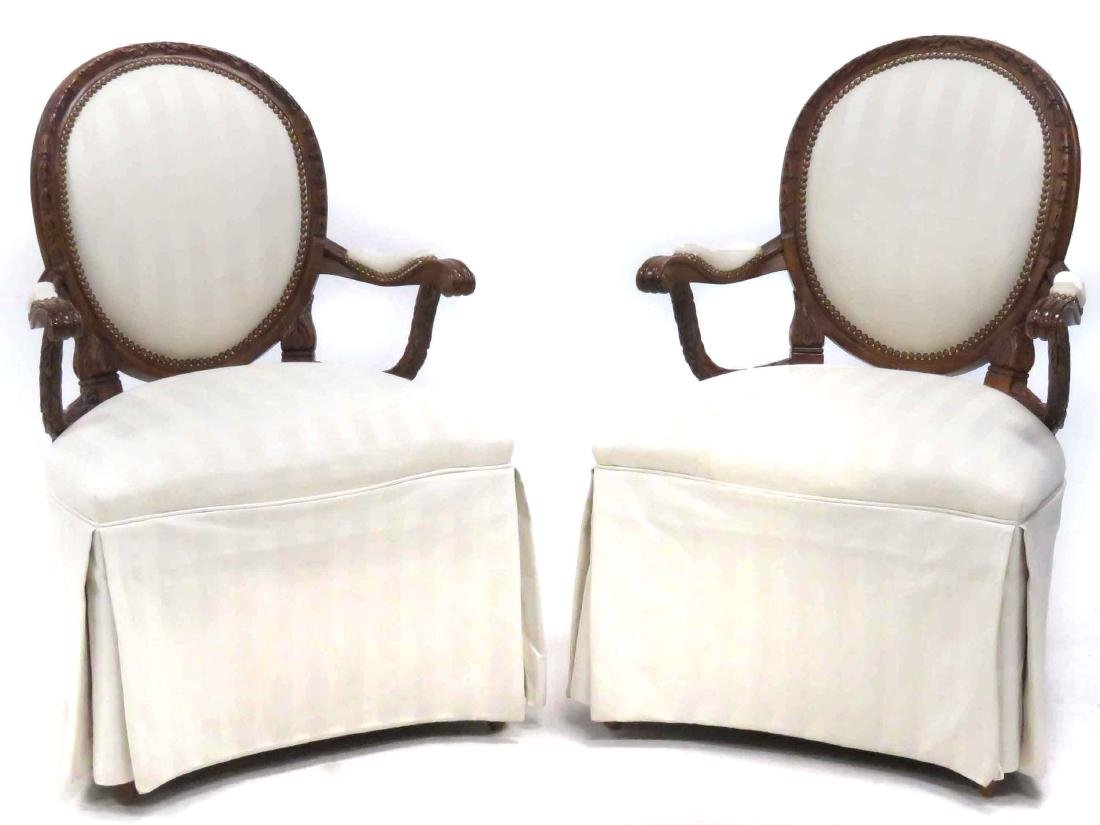 PAIR FRENCH STYLE CARVED FRUITWOOD ARMCHAIRS