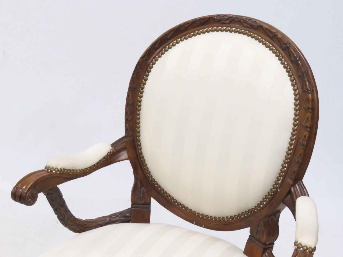 PAIR FRENCH STYLE CARVED FRUITWOOD ARMCHAIRS - 2
