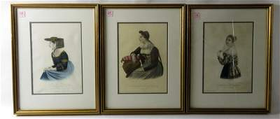 SET 3 FRENCH HAND COLORED LITHOGRAPHS NATIONAL