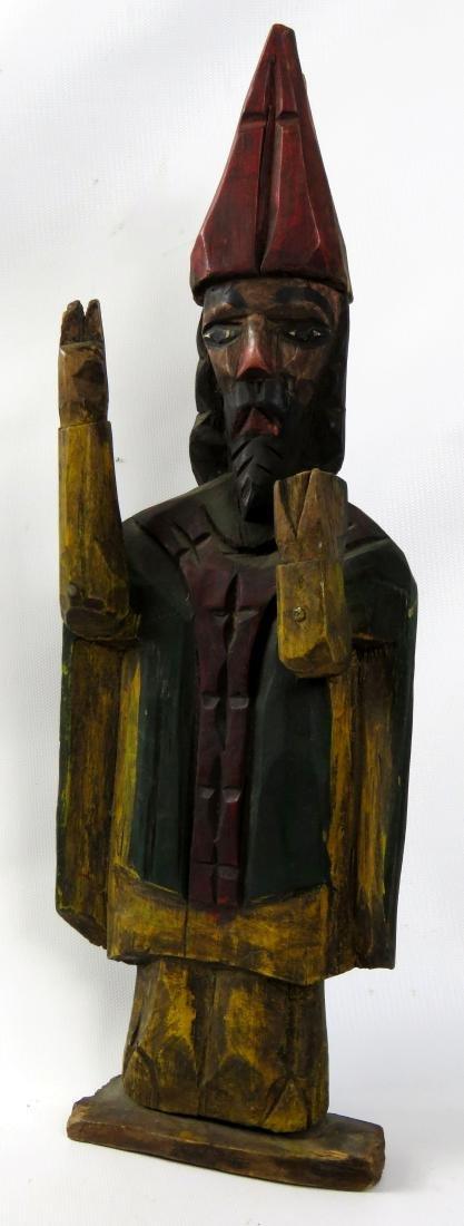 FOLK ART CARVED WOOD & POLYCHROMED FIGURE OF A BISHOP.