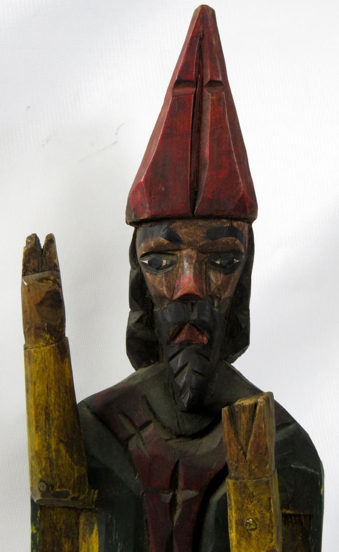 FOLK ART CARVED WOOD & POLYCHROMED FIGURE OF A BISHOP. - 2
