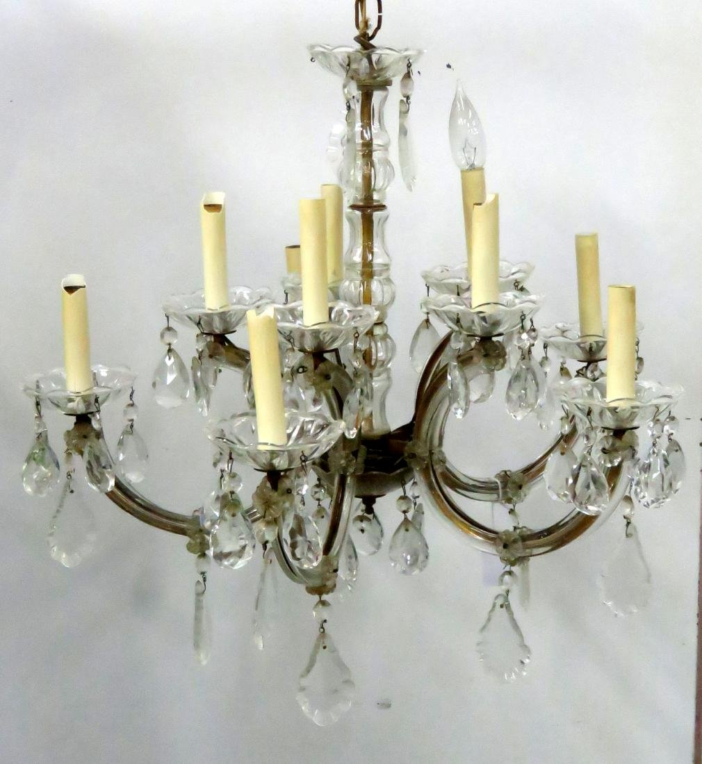 """FRENCH STYLE CRYSTAL CHANDELIER. HEIGHT 19""""; DIAMETER"""