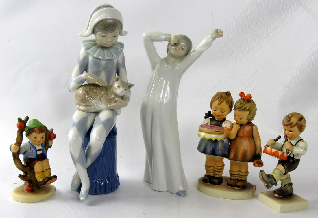 LOT (5) INCLUDING NAO FIGURINE, HARLEQUIN/CAT; ZAPHIN