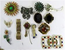 LOT (2) COSTUME JEWELRY INCLUDING TRAY LOT, SIGNED