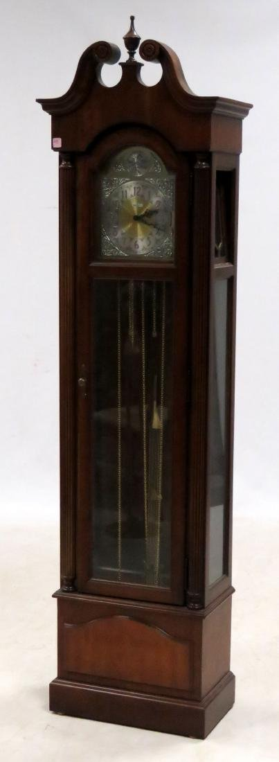 HOWARD MILLER CARVED CHERRY TALL CASE CLOCK WITH