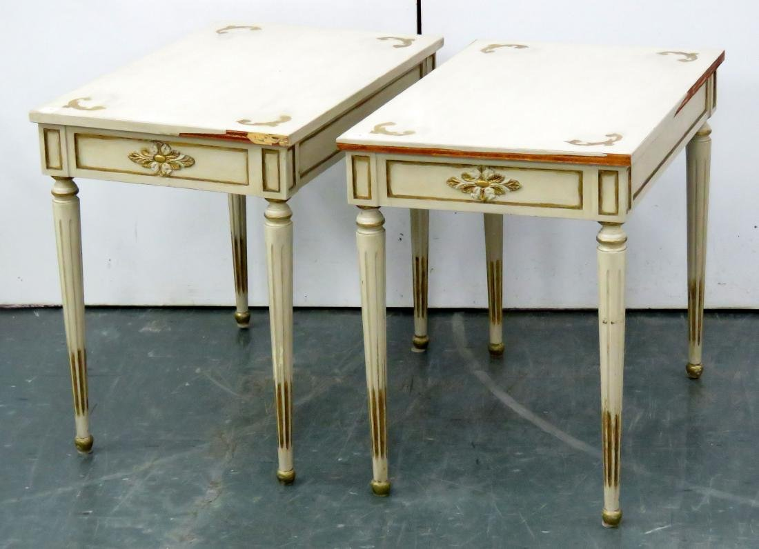 """PAIR LOUIS XV STYLE PAINTED AND GILT STANDS. HEIGHT 24"""";"""