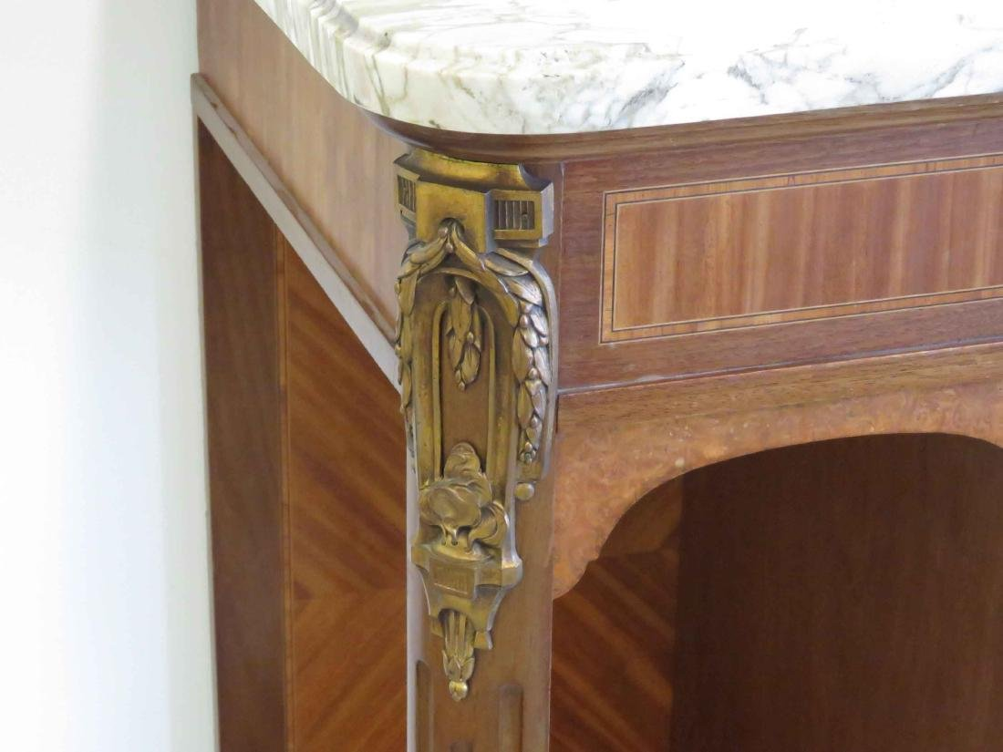 FRENCH LOUIS XVI STYLE CARVED & MARQUETRY INLAID - 2
