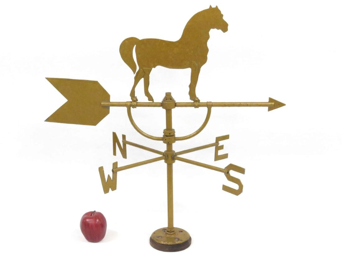 VINTAGE SHEET IRON/BRASS HORSE WEATHERVANE WITH