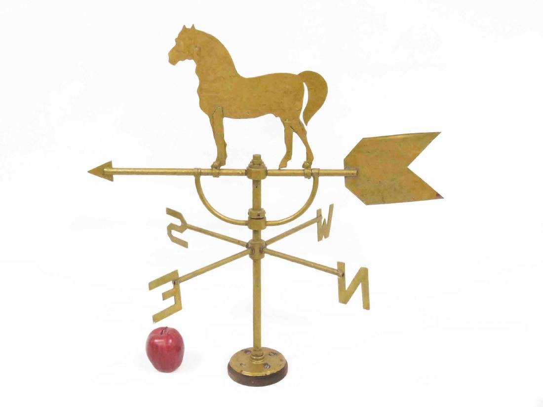 VINTAGE SHEET IRON/BRASS HORSE WEATHERVANE WITH - 2