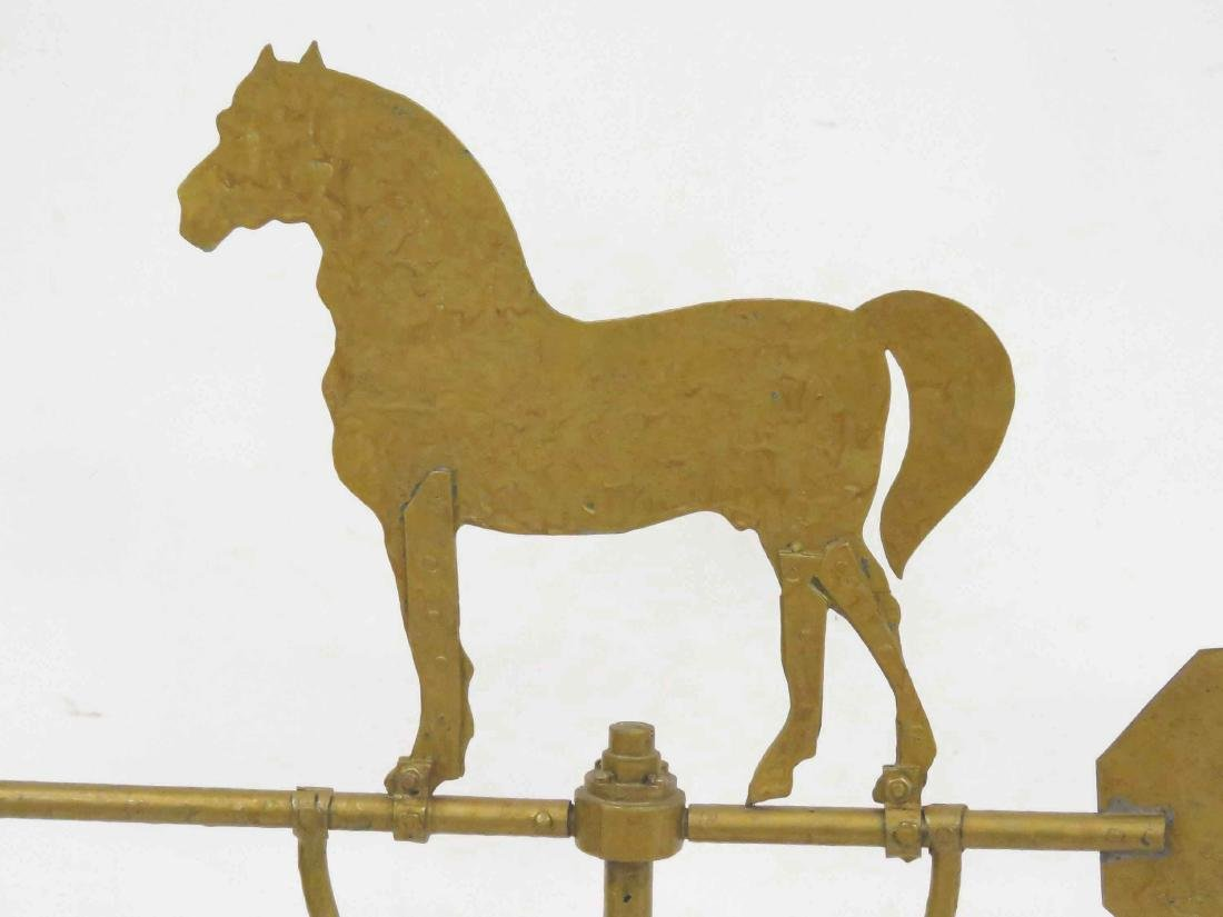 VINTAGE SHEET IRON/BRASS HORSE WEATHERVANE WITH - 3