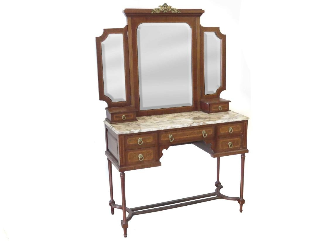 FRENCH LOUIS XVI STYLE CARVED & MARQUETRY INLAID