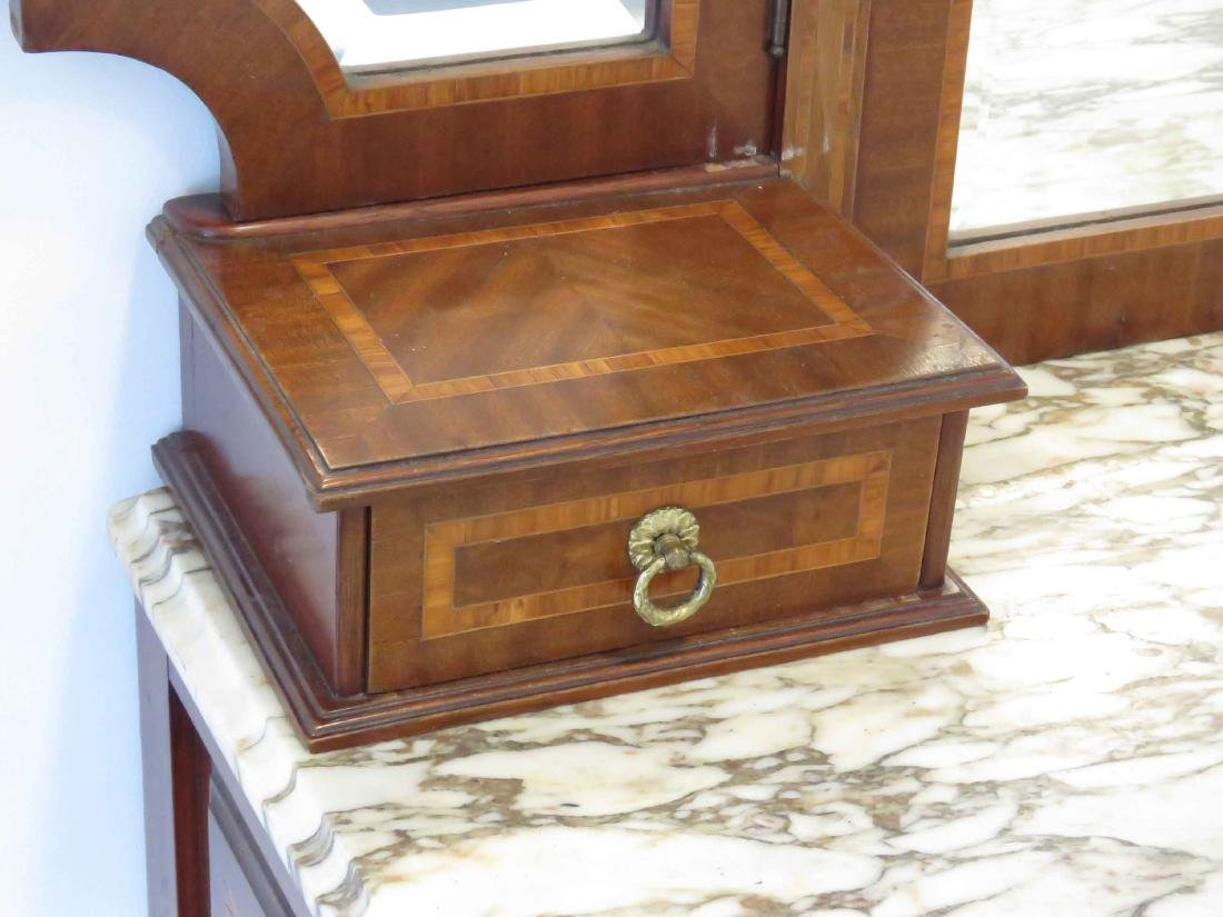 FRENCH LOUIS XVI STYLE CARVED & MARQUETRY INLAID - 3