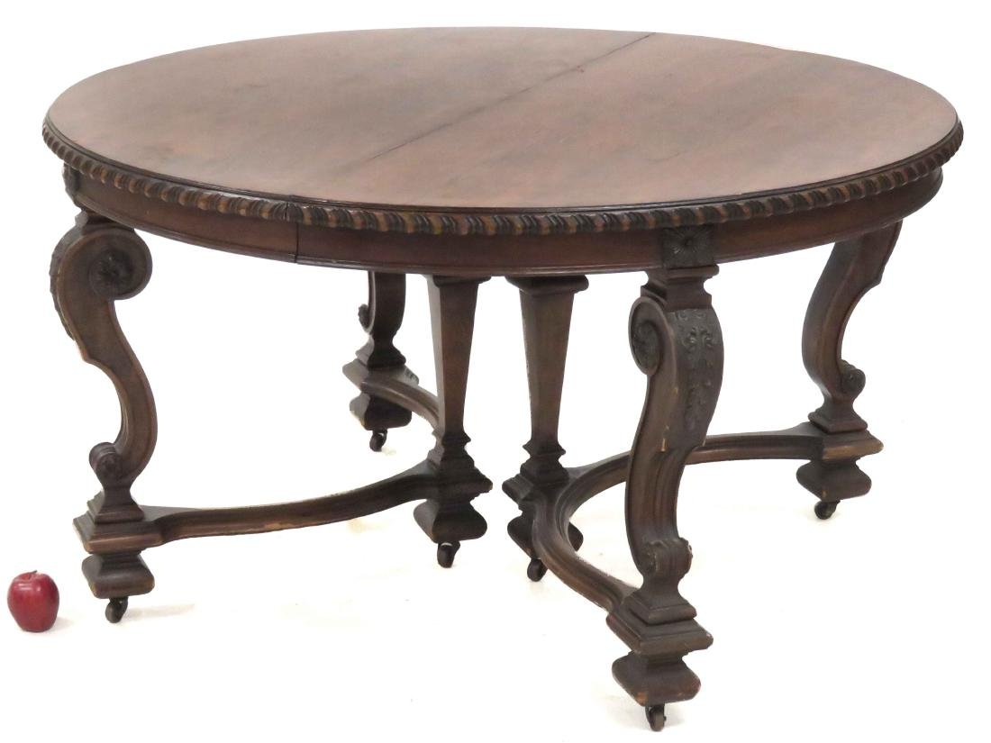 FRENCH REGENCIE STYLE CARVED WALNUT EXTENSION DINING