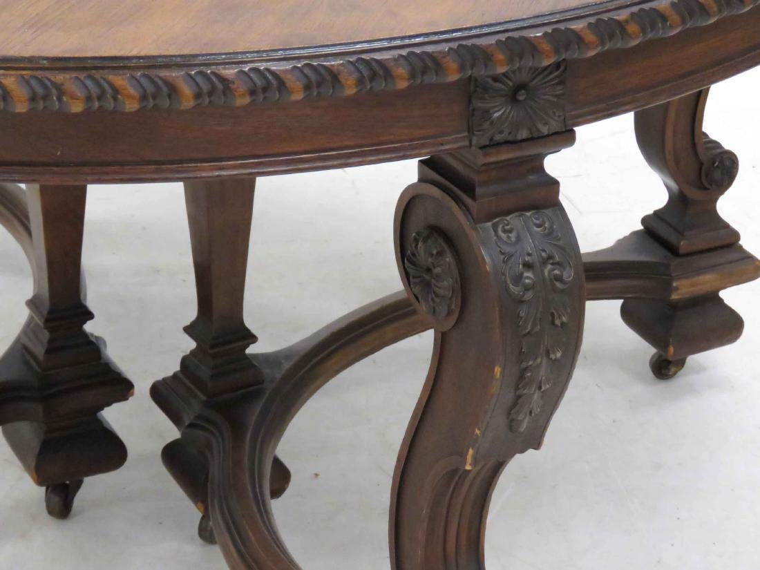 FRENCH REGENCIE STYLE CARVED WALNUT EXTENSION DINING - 2