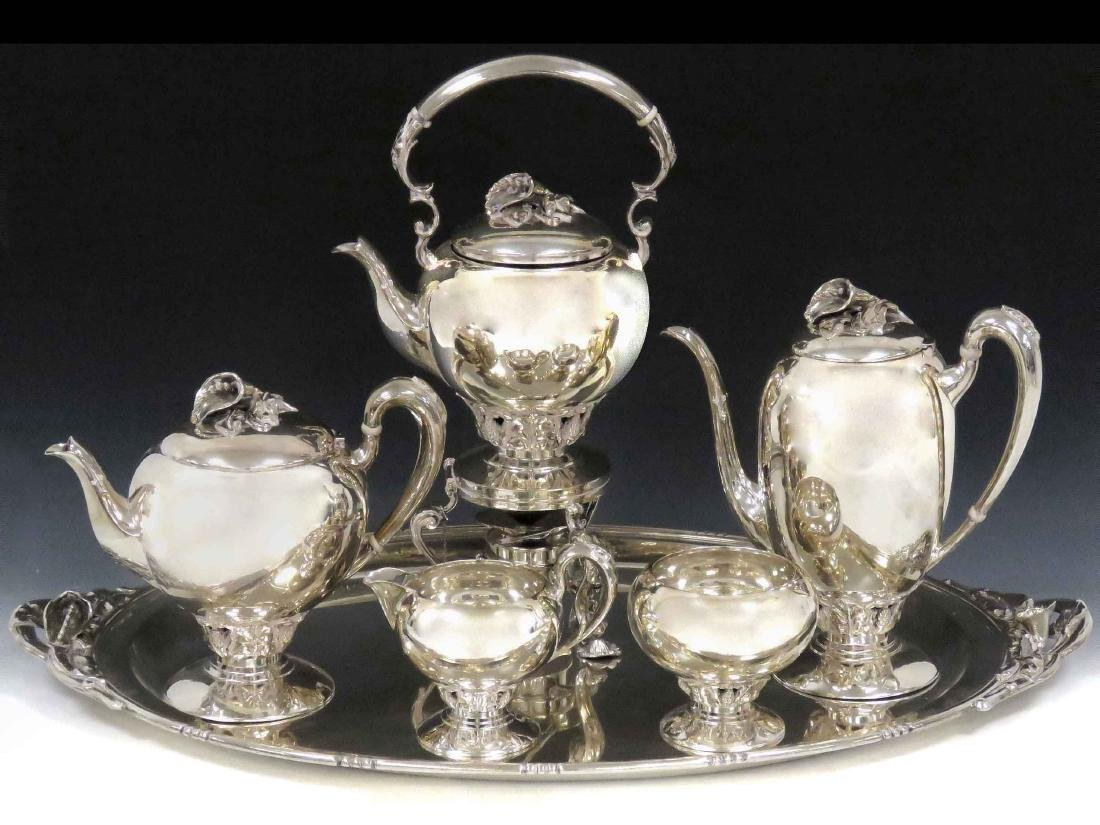 REDLICH & CO. STERLING 6-PIECE TEA SERVICE WITH FLORAL