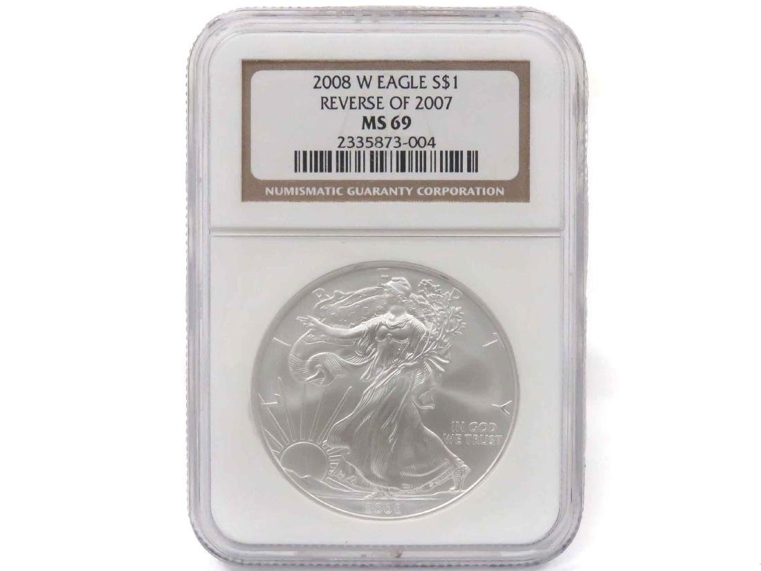 2008-W SILVER EAGLE (REVERSE OF 2007) MS-69 (NGC)