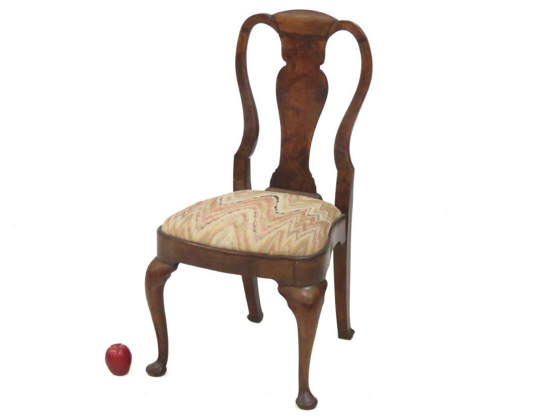 QUEEN ANNE STYLE BENCH MADE BURL ELM SIDE CHAIR,