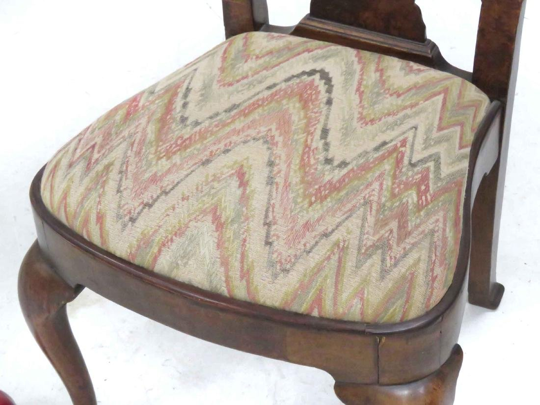 QUEEN ANNE STYLE BENCH MADE BURL ELM SIDE CHAIR, - 2