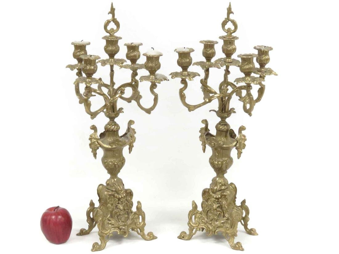 """PAIR FRENCH STYLE BRASS CANDELABRA. HEIGHT 22"""""""