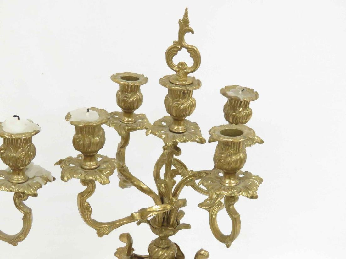 """PAIR FRENCH STYLE BRASS CANDELABRA. HEIGHT 22"""" - 3"""